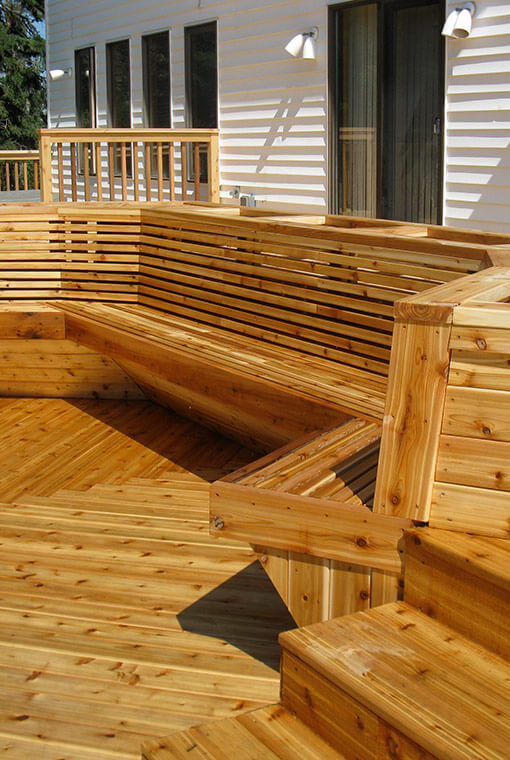Custom cedar backyard deck