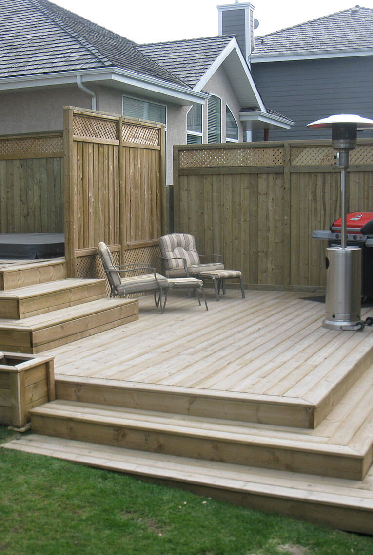 Pressure Treated lumber deck with 6 steps and 2 landings