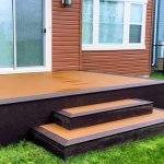 brown composite wood decking in the rain