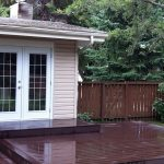 Composite wood deck in the rain