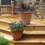 3 step cedar deck with flower pots