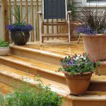cedar deck with flower pots